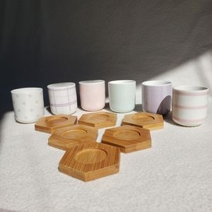 NWOT Set of 6 Colourful Teacups Wooden Coasters